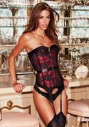 Satin And Lace Corset Red/blk Xl