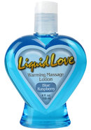Liquid Love Warming Massage Lotion Blue Raspberry 4 Ounce