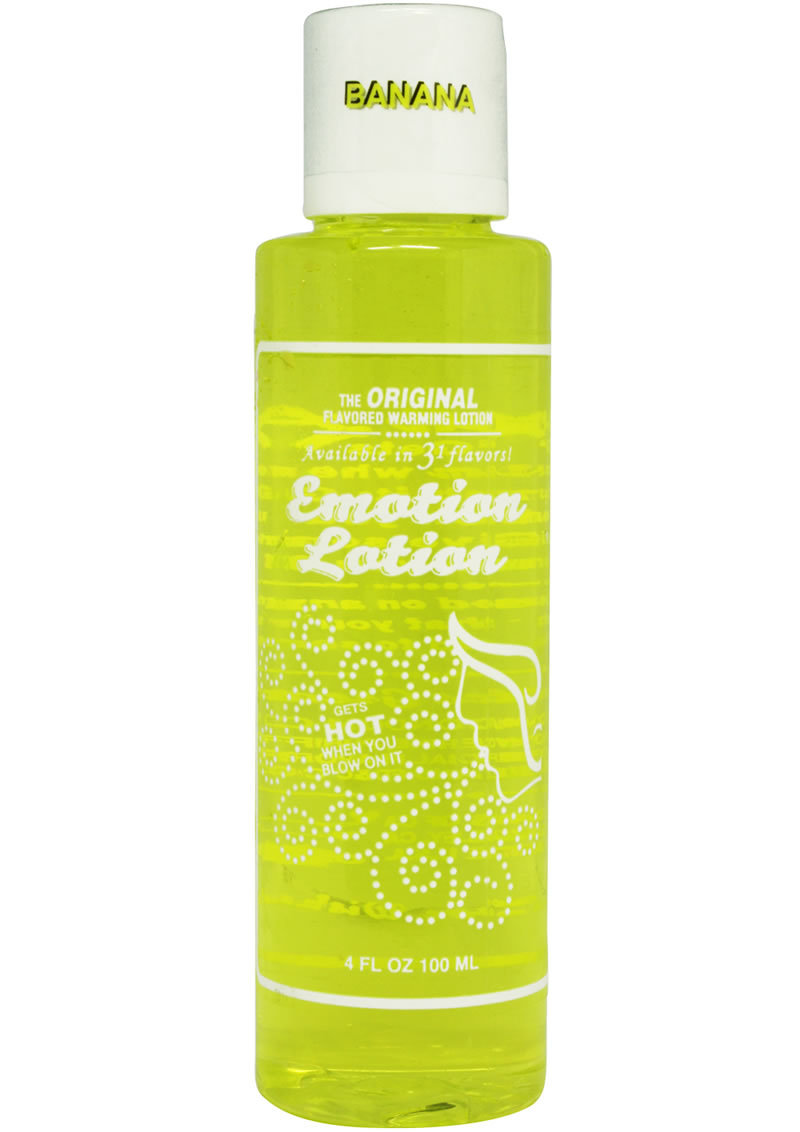 Emotion Lotion Flavored Water Based Warming Lotion Banana 4 Ounce